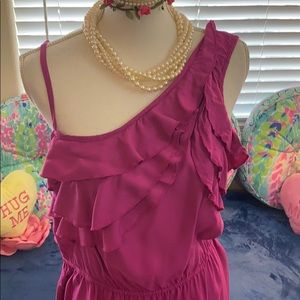 Magenta asymmetrical ruffle dress